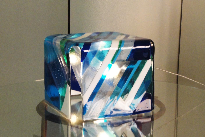 """Lampada d'appoggio """"Cubo blue"""""""