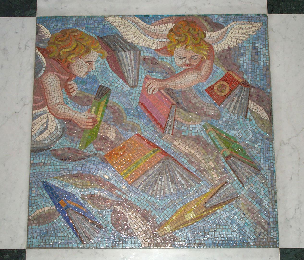 Particolare mosaico per biblioteca