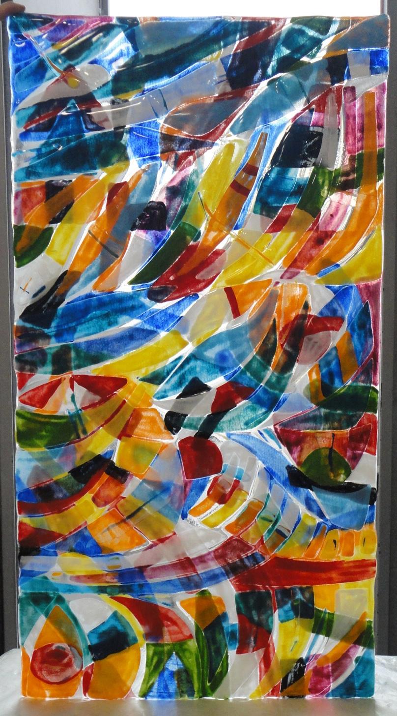 """Pannello vetro fusione """"Struttura sull'acqua"""" (cm 100X50)"""